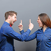 Couple fighting or arguing between each other - Crisis in relationship concept