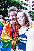 Two girls during gay pride parade at Valencia-Spain