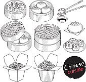 Chinese cuisine food doodle elements hand drawn style.
