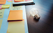 Light bulb on table with paperwork.creativity concepts.marketing strategy solution.brainstorming ideas.