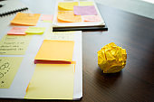 Paper crumpled ball on table.business creativity concept ideas.