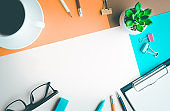 Desk office background with supplies.business working table