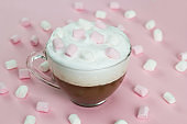 top view hot beverage with marshmallows