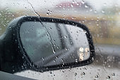 automotive glass with rain drops