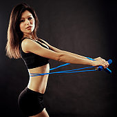 Girl sportsman doing exercises