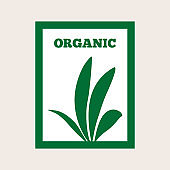 Silhouette of plant in a rectangular frame. Text Organic. Green logo.