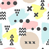 Modern seamless pattern with brush strokes and geometric shapes. Ink, sketch, grunge, watercolor, brushstrokes. White, blue, yellow, brown, black colour.