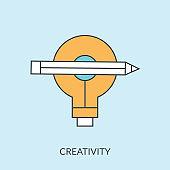 Creative light bulb and pencil sign