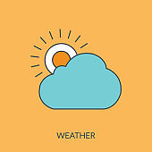 Cloudy day vector line icon, sign, illustration