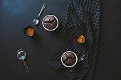 Coffee and souffle on blackboard table top