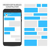 Messenger and social network concept. Speech bubbles constructor. Empty speech bubbles on display