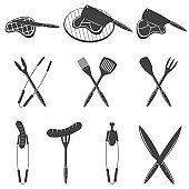 BBQ. Barbecue and grill design elements. Equipment, meat, chicken, sausage. Icons, labels for steak house or grill bar