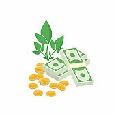 Finance profit, increase profit. Compound interest, added value. Money grows concept. Plant with cash and coins