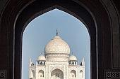 View from arch of entrance to Taj Mahal in Agra, India