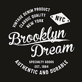 Vintage, Brooklyn typography for t-shirt print. Premium vintage t-shirt graphics. Retro badge