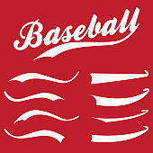 Swooshes, underline elements for sports design, typography for t-shirt. Baseball retro hand drawn swishes