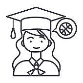 graduation girl vector line icon, sign, illustration on background, editable strokes
