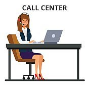Customer service operator. Businesswoman working in headset with laptop computer. Call center concept. Flat style vector illustration isolated on white background.