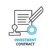 investment contract concept , outline icon, linear sign, line pictogram, , flat illustration, vector