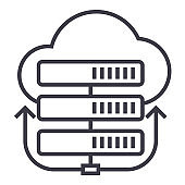 servers network,cloud vector line icon, sign, illustration on background, editable strokes