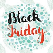 Vector Black Friday sign with lettering, leaves, and watercolor