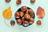 Chestnuts and autumn leaves, overhead photo with copyspace