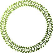 Victorian art vector circular frame with blank copy space created using floral decoration and green leaves. Heraldic template illustration.