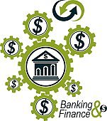 Banking and Finance conceptual logo, unique vector symbol. Banking system. The Global Financial System. Circulation of Money.