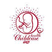 Vector embryo emblem. New life beginning drawing. Maternity hospital conceptual logo