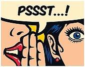 Pop art style comics panel gossip girl whispering secret in ear word of mouth vector illustration