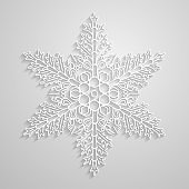 Vector lined snowflake. Paper linear snowflakes design, minimalistic geometrical snowflake on light background. Background and element for winter and christmas seasonal design