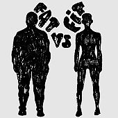 Fat vs Fit vector woman silhouette. A slim and fat woman, vector texture illustration