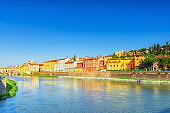 Beautiful panoramic view of the Arno River and the town of Renaissance Italy - Florence.