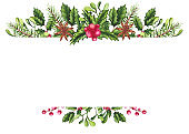 Frame with Watercolor Christmas Tree, Holly and Mistleotoe