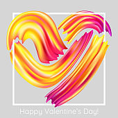 Valentine's Day Card with Heart. Vector Illustration