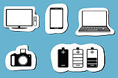 Black icon set of mobile devices, computer, camera, battery and  tv. Vector illustration