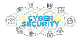 Modern Flat Line Design Concept of Cyber Security