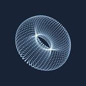 Torus. The Torus Consisting of Points. Connection Structure. Torus Shape  Wireframe. 3D Grid Design. A Glowing Grid. 3D Technology Style. Network Design. Molecular lattice. Cyberspace Grid.