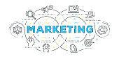 Modern Flat Line Design Concept of Marketing