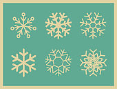 Set of vintage vector icons snowflakes.