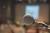Close up Microphone on stage in hotel event