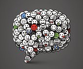 Creative Chat icon made of many small smiles. Social network and communication concept.