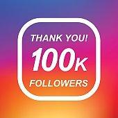 Thank you 100k followers label design elements. Vector illustration background