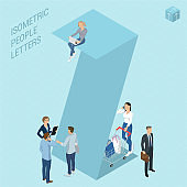 Isometric letters with people