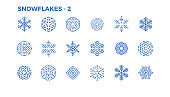 Snowflake icons. Decorative elements of winter themes and Christmas. Editable Stroke.