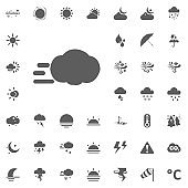 turbulence and cloud icon. Weather vector icons set