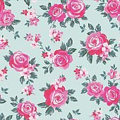 vector seamless delicate botanical roses flower pattern