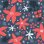 Seamless floral pattern of hand drawn poinsettia, berries, leafs, snowflakes.