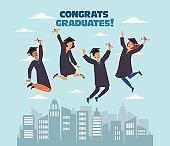 Graduation concept. Stylish modern vector illustration with happy young men and women