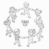 Happy kids holding hands and dancing in a circle